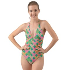 Abstract Seamless Pattern Halter Cut Out One Piece Swimsuit