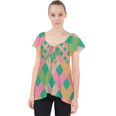 Abstract Seamless Pattern Lace Front Dolly Top