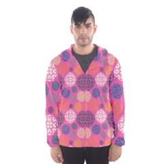 Abstract Seamless Pattern Graphic Pink Men s Hooded Windbreaker