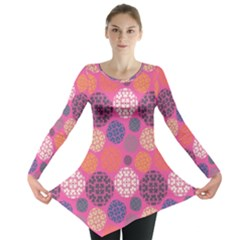 Abstract Seamless Pattern Graphic Pink Long Sleeve Tunic