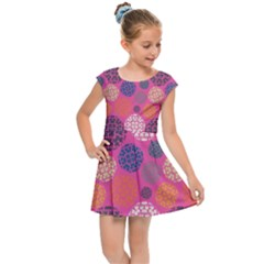 Abstract Seamless Pattern Graphic Pink Kids  Cap Sleeve Dress