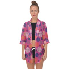 Abstract Seamless Pattern Graphic Pink Open Front Chiffon Kimono