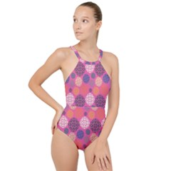 Abstract Seamless Pattern Graphic Pink High Neck One Piece Swimsuit