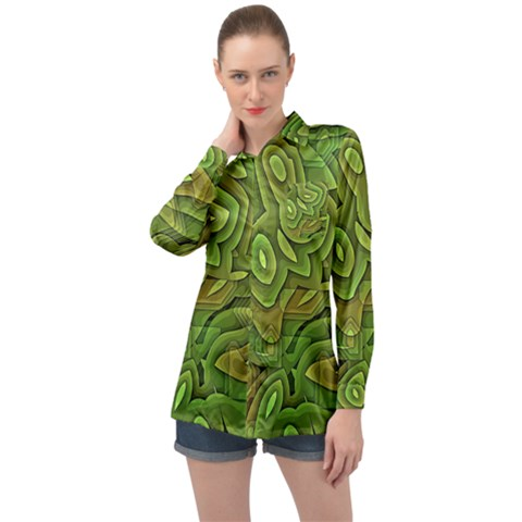 Background Abstract Green Long Sleeve Satin Shirt by Vaneshart