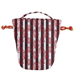 Striped Roses Pattern Drawstring Bucket Bag