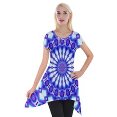 Pattern Background Color Short Sleeve Side Drop Tunic