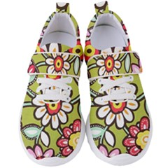Flowers Fabrics Floral Women s Velcro Strap Shoes by Vaneshart