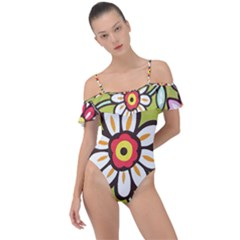 Flowers Fabrics Floral Frill Detail One Piece Swimsuit