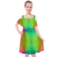 Pattern Colorful Abstract Kids  Cut Out Shoulders Chiffon Dress