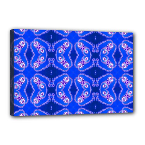 Seamless Fractal Blue Canvas 18  X 12  (stretched)