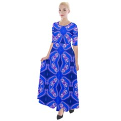 Seamless Fractal Blue Half Sleeves Maxi Dress