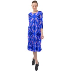 Seamless Fractal Blue Ruffle End Midi Chiffon Dress