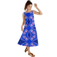 Seamless Fractal Blue Summer Maxi Dress