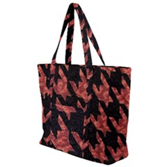 Fabric Pattern Dogstooth Zip Up Canvas Bag