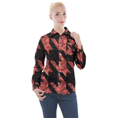 Fabric Pattern Dogstooth Women s Long Sleeve Pocket Shirt by Vaneshart