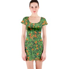 Carnations Flowers Seamless Short Sleeve Bodycon Dress