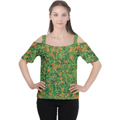 Carnations Flowers Seamless Cutout Shoulder Tee