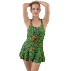 Carnations Flowers Seamless Ruffle Top Dress Swimsuit