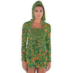 Carnations Flowers Seamless Long Sleeve Hooded T Shirt