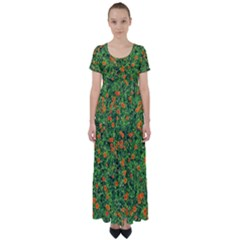 Carnations Flowers Seamless High Waist Short Sleeve Maxi Dress
