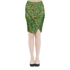 Carnations Flowers Seamless Midi Wrap Pencil Skirt