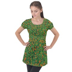 Carnations Flowers Seamless Puff Sleeve Tunic Top