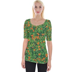 Carnations Flowers Seamless Wide Neckline Tee