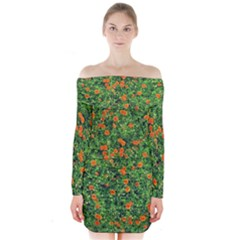 Carnations Flowers Seamless Long Sleeve Off Shoulder Dress