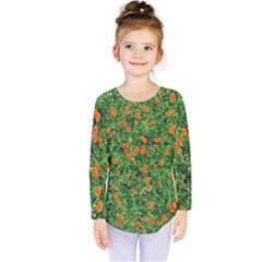 Carnations Flowers Seamless Kids  Long Sleeve Tee