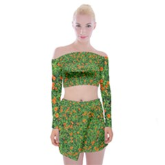 Carnations Flowers Seamless Off Shoulder Top With Mini Skirt Set
