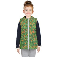 Carnations Flowers Seamless Kids  Hooded Puffer Vest