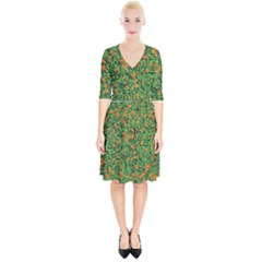Carnations Flowers Seamless Wrap Up Cocktail Dress