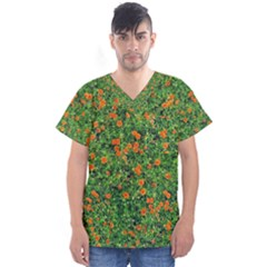 Carnations Flowers Seamless Men s V Neck Scrub Top