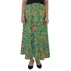 Carnations Flowers Seamless Flared Maxi Skirt