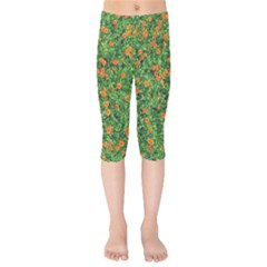 Carnations Flowers Seamless Kids  Capri Leggings