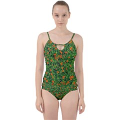 Carnations Flowers Seamless Cut Out Top Tankini Set