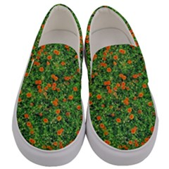 Carnations Flowers Seamless Men s Canvas Slip Ons
