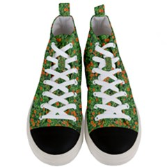 Carnations Flowers Seamless Men s Mid Top Canvas Sneakers