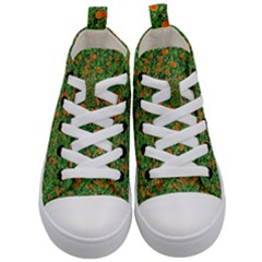 Carnations Flowers Seamless Kids  Mid Top Canvas Sneakers