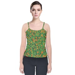 Carnations Flowers Seamless Velvet Spaghetti Strap Top