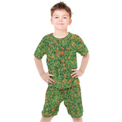 Carnations Flowers Seamless Kids  Tee And Shorts Set