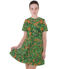 Carnations Flowers Seamless Short Sleeve Shoulder Cut Out Dress