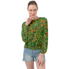 Carnations Flowers Seamless Banded Bottom Chiffon Top