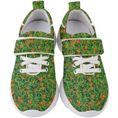 Carnations Flowers Seamless Kids  Velcro Strap Shoes