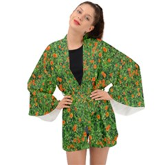 Carnations Flowers Seamless Long Sleeve Kimono
