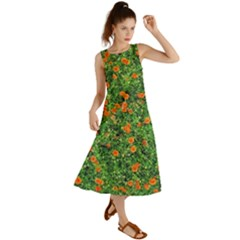 Carnations Flowers Seamless Summer Maxi Dress