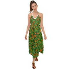 Carnations Flowers Seamless Halter Tie Back Dress