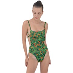 Carnations Flowers Seamless Tie Strap One Piece Swimsuit