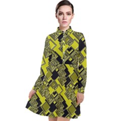 Seamless Pattern Background Long Sleeve Chiffon Shirt Dress