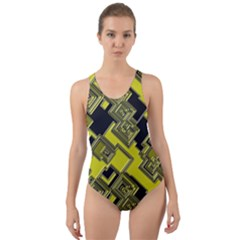 Seamless Pattern Background Cut Out Back One Piece Swimsuit